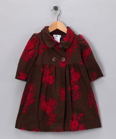Brown & Red Floral Isabelle Coat - Toddler & Girls