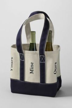 Six Bottle Canvas Wine Tote from Lands End - love the yours, mine and ours, good for the Zoller sisters!!