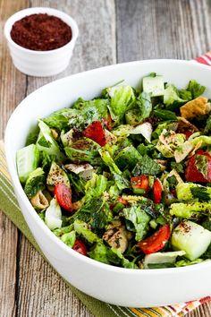 Fattoush Lebanese Salad with Sumac and Pita Chips found on KalynsKitchen.com