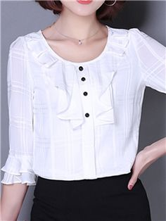 Cheap Beautiful Blouses for Women Online Page 3 Frill Blouse, Blouse And Skirt, Fashion Pants, Girl Fashion, Fashion Outfits, Cheap Blouses, Blouses For Women, Blouse Styles, Blouse Designs