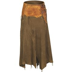 Deerskin Skirt ❤ liked on Polyvore featuring skirts and brown skirt