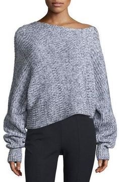 Absolutely stunning! Get this T by Alexander Wang Marled Chunky Cotton-Blend Sweater, Black/White today.