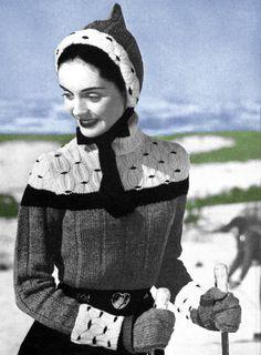 A great looking vintage ski sweater, hood & mitten set, 1956