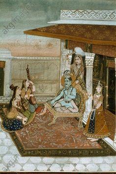 Shiva vor Musikantinnen. Rajasthan. Shiva, Krishna, Gouache, Akg, Hindu Art, Durga, Gods And Goddesses, Ganesha, Holi