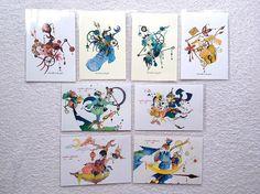 ポストカードimatabinideyoh/wonder collectionシリーズそれぞれ4枚ずつ計8枚セット●アクリルガッシュで描いた後PCに取り込み印刷...|ハンドメイド、手作り、手仕事品の通販・販売・購入ならCreema。
