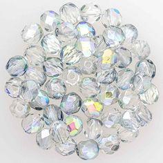 6mm Round Fire Polished Czech Glass Bead - Crystal Blue Rainbow