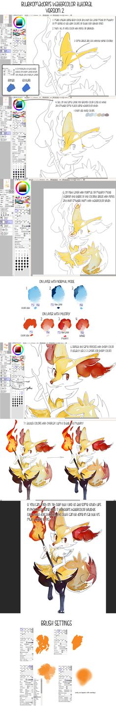 Sai watercolor tutorial + brushes, Sai file by bluekomadori.deviantart.com on @deviantART