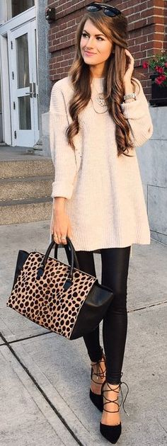 #fall #trending #outfits |   Tan Oversized Sweater + Faux Leather Leggings