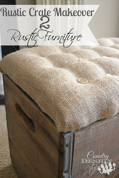 Make a rustic crate go to work…and hold up your feet! Plus organizing storage… Make a rustic crate go to work…and hold up your feet! Plus organizing storage! Country Design Style Pin: 736 x 1104 Rustic Furniture, Diy Furniture, Old Crates, Wine Crates, Wooden Crates, Crate Ottoman, Shabby, Diy Wood Projects, Home Interior