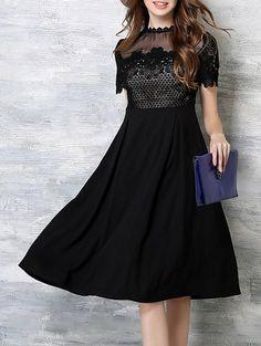 High Waist Crochet Embroidery Dress