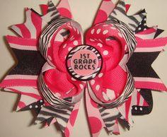 1st grade rocks hair bow