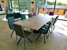 Victoria extendable table in Dekton Orix, with multi colour Candy chairs in Ultra faux leather, as recently delivered to one of our clients. #contemporarytable #dekton #designerfurniture #moderndining Dinning Table, Dining Chairs, Contemporary Furniture, Contemporary Design, Sofa Design, Furniture Design, Leather Bed, Modern Bedroom, Victoria