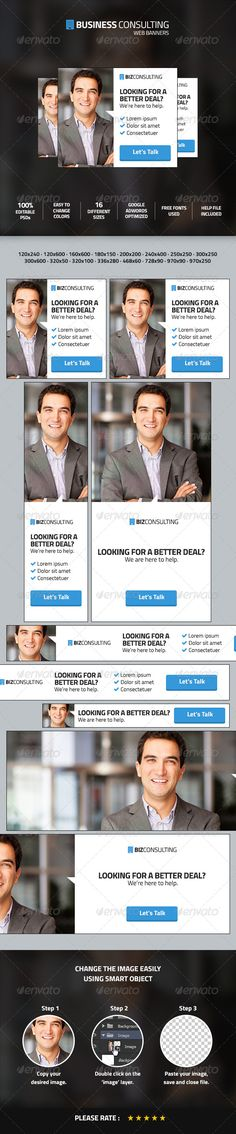 Business Consulting Web Ad Marketing Banners Template PSD   Buy and Download: http://graphicriver.net/item/business-consulting-web-ad-marketing-banners/8561970?WT.ac=category_thumb&WT.z_author=johnmonte&ref=ksioks