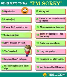 "35 Ways to Say ""I'm Sorry"" in English How to Say Sorry! List of different ways to say I'm Sorry in English you should know. Learn these synonyms for I'm sorry to improve your English speaking skill. English Verbs, Learn English Grammar, English Vocabulary Words, Learn English Words, English Phrases, English Writing, English Study, English Vinglish, English Grammar Rules"