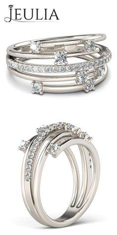 Spilt Shank Round Cut  Rhodium Plated Engagement Ring/Cocktail Ring #jeulia