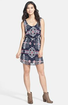 BeBop Geometric Print Chiffon Dress (Juniors) available at #Nordstrom