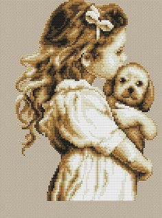 "Сачать схему вышивки ""Little Girl with dog"""