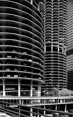 Marina City Towers, Chicago by Bertrand Goldberg in 1959-64