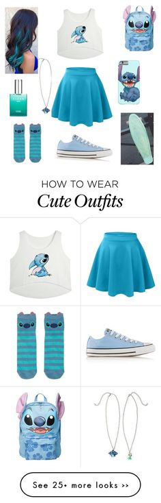 Stitch Outfit by xxsondraxx on Polyvore featuring Converse, Disney and CLEAN