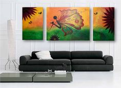 3 Gallery Wrapped Paintings (24x60inch) by Ela Mazek-The Flower butterfly