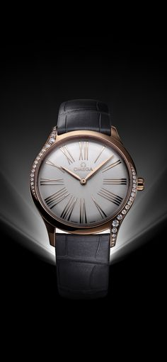 f618d07997a Leather and luxury! An OMEGA Trésor in 18K Sedna™ gold. Omega Ladies