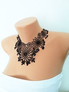 FREE SHIPPING Lux Black   Lace Necklace, Cotton Lace Applique Collar,  Bridesmaid Accessories, Woman Applique ,OOAK, Graduation accessories
