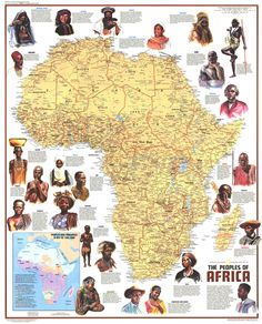 """Africa - Ethnolinguistic Map of the Peoples (1972) Published in December 1971 with the article """"The Zulus: Black Nation in a Land of Apartheid,"""" this map is a supplement to the """"Heritage of Africa"""" map printed in the same issue. Featuring a physical map with the names of groups and their languages, this map also contains beautiful illustrations and interesting facts about the diverse peoples that inhabit the continent. A varied look at the source of all African descendants world wide."""