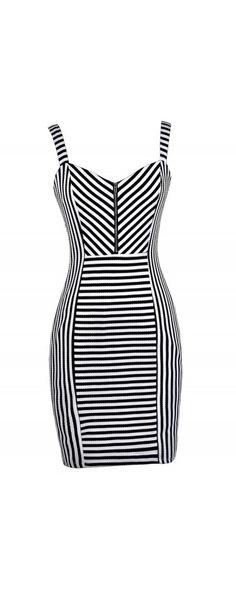 Lily Boutique Jailbird Chic Black and White Dress