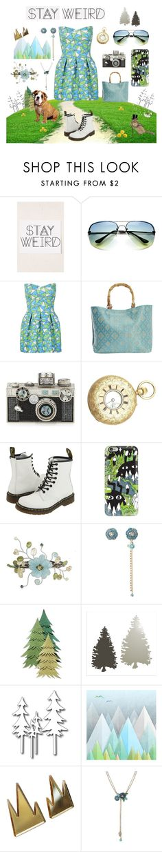 """""""Stay Weird"""" by jennie-bo-bennie ❤ liked on Polyvore featuring Urban Outfitters, WithChic, Magid, Judith Leiber, Dr. Martens, Casetify, NOVICA, Betsey Johnson and Monde Mosaic"""