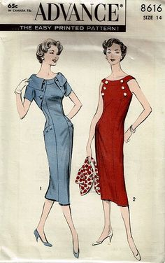 The sheath became very popular in the mid 1950s, although wearing it required a longline girdle. This one has the sleeveless version for informal events, and sleeves, apparently in the form of a bolero, for more formal events. Advance 8616
