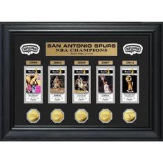 San Antonio Spurs NBA Champions Gold Game Coin and Ticket Collection Collage