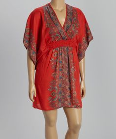 Love this Red & Blue Abstract Cape-Sleeve Dress - Plus by She's Cool on #zulily! #zulilyfinds