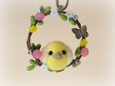 Needle felted Easter chick on wreath ornament by NozomiCrafts, $18.00