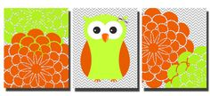 Set of 3 Orange Lime Green Owl Flower Bursts Grey by kjhdesigns, $15.00