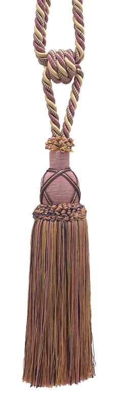 """Beautiful Dusty Rose, Dark Blue, and Light Olive Curtain & Drapery Tassel Tieback / 10"""" tassel, 30 1/2"""" Spread (embrace), 3/8"""" Cord, Imperial II Collection Style# TBIC-1 Color: OLIVE ROSE - 1010"""