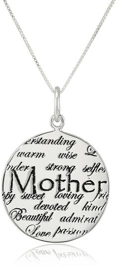 Sterling Silver 'Mom' Circle Graffiti Pendant Necklace, 18' *** More info could be found at the image url.