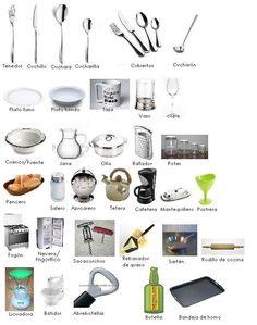 """Cocinar, la cocina (ficha de vocabulario) // no me suena """"pencero"""" ...(=cesta de pan)"""