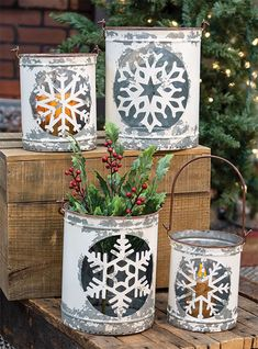 Create a DIY focal point with our set of four White Vintage Snowflake Buckets. This is an AMAZING value and has endless decor possibilities! Display with candles, florals, store small gifts, or create a gorgeous centerpiece! KP Creek Gifts. #farmhousedecor #farmhousechristmas #centerpiece #focalpoint #DIYchristmas #countrychristmas #holidaydecor