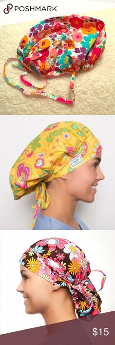Blue Sky Scrubs Poppy Surgical Scrub Cap  Blue Sky Scrubs Poppy Surgical Scrub Cap , Springtime Print! Can be worn as full bouffant or pulled back with attached ties. Two hats in one!  Excellent condition. *Model pictures are for cap style reference only.* Blue Sky Scrubs Other