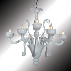 Lightweight and stylish as the soft clouds in a clear sky, this entirely handmade white glass chandelier will embellish and make precious any room.         Genuine Murano glass hand blown in Italy.    Wooden crate packing included in price.         Other colors and dimensions available on request.