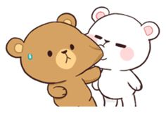Bear Couple : Milk & Mocha by Shortie sticker Love Cartoon Couple, Cute Cartoon Pictures, Cute Love Cartoons, Cute Love Gif, Cute Love Pictures, Cute Bear Drawings, Kawaii Drawings, Gif Mignon, Cartoon Mignon