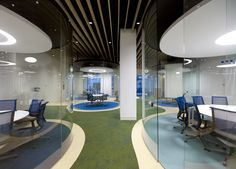 MVN Arquitectos has developed a new office space design for global insurance firm Aegon located in Madrid, Spain. From AEGON values borns a new conception Office Space Design, Modern Office Design, Beige Carpet, Modern Carpet, Visual Merchandising, Oval Table, Cheap Carpet Runners, Design Furniture, Commercial Interiors