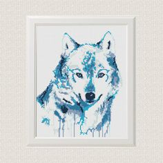 Watercolor Cross Stitch Pattern Wolf Animal Printable PDF