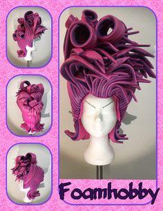 Pink and purple Foam Wigs, Beauty Makeup, Hair Makeup, Wig Making, Cosplay Wigs, Headdress, Fancy Dress, Purple, Pink