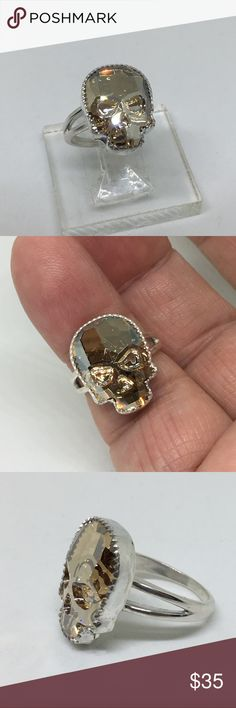 Handcrafted w/Swarovski Crystal Skull Ring This is one of my most popular and fastest selling pieces. Handcrafted in my studio by me. A 19 x 14mm Swarovski Crystal Skull set in a handmade 925 silver setting and ring. The ring is a size 7 but I can resize it for you for free. designsbysteve Jewelry Rings