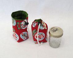 Christmas Print Mason Jar Bag