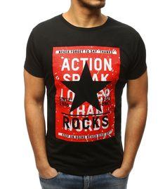 274c4612f3 Čierne pánske tričko s potlačou. Vyrobená z mäkkého