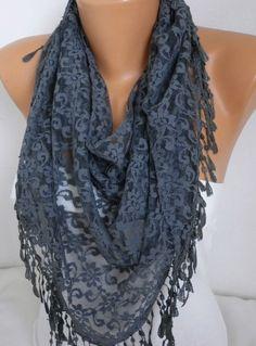 ON SALE  Grey Lace Scarf  Shawl Scarf Women Scarves Cowl by anils, $17.91