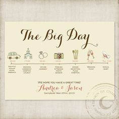 Items similar to printable wedding itinerary, Custom Big Day timeline program, wedding timeline, Program of Events, Printable Wedding Timeline card icon on Etsy Wedding Stationary, Wedding Programs, Wedding Tips, Our Wedding, Wedding Paper, Wedding Cards, Weeding Planner, Wedding Planning Timeline, Wedding Schedule