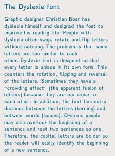 The Dyslexie Font. The Dyslexia font Graphic designer Christian Boer has dyslexia himself and designed the font to improve his reading life. People with dysle Writing Prompts, Writing Tips, Writing Skills, Prix Nobel, How To Read People, Dysgraphia, Police, Learning Disabilities, Learning